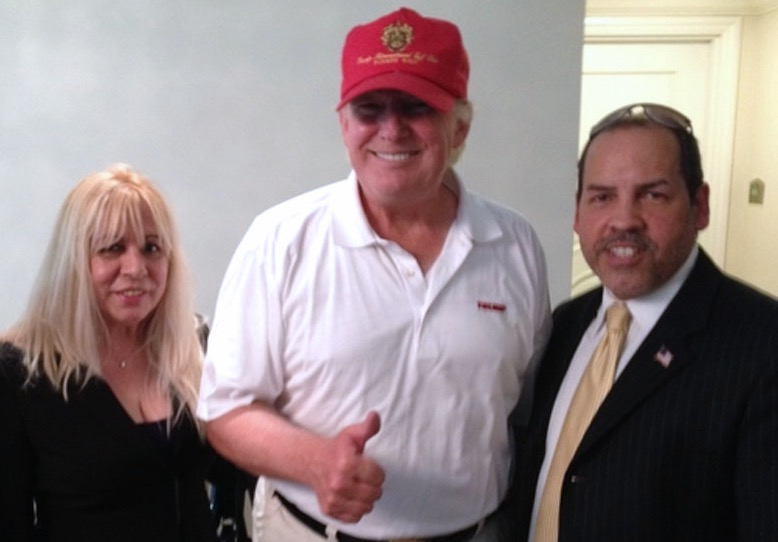 Manny Sarmiento and Carmen Lopez with Donald Trump before he was President, at Trump National Doral.